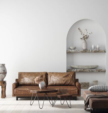 Photo pour Wall mock up in Scandi-boho home interior with retro brown leather furniture, 3d render - image libre de droit
