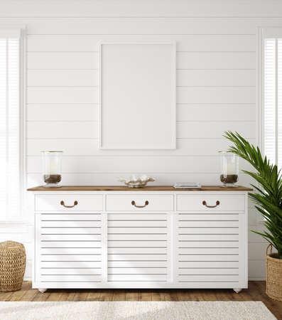 Photo pour Hampton style living room interior with frame mockup, 3d render - image libre de droit