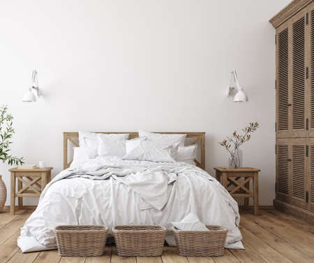 Photo pour Scandinavian farmhouse bedroom interior, wall mockup, 3d render - image libre de droit