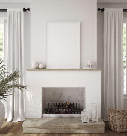 Photo pour Mockup frame in scandinavian farmhouse living room interior, 3d render - image libre de droit