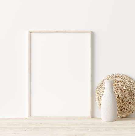 Photo pour Mock up frame in home interior background, white room with natural wooden furniture, Scandi-Boho style, 3d render - image libre de droit