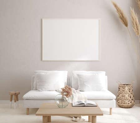 Photo pour Mockup frame in interior background, room in light pastel colors, Scandi-Boho style, 3d render - image libre de droit