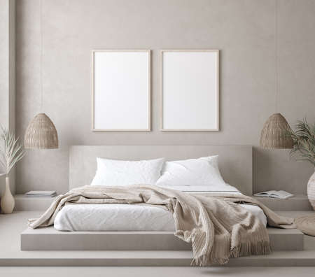 Photo pour Mock up frame in bedroom interior background, 3d render - image libre de droit