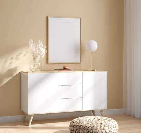 Photo pour Mockup frame in interior background, room in light pastel colors, Scandinavian style, 3d render - image libre de droit