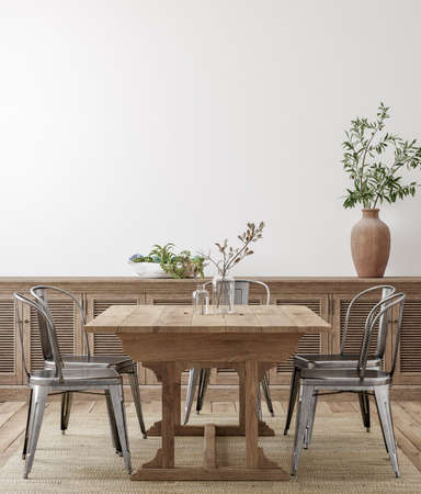 Photo for Farmhouse dining room interior, wall mockup, 3d render - Royalty Free Image