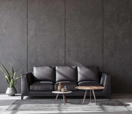 Photo pour Living room interior in loft, industrial style, 3d render - image libre de droit