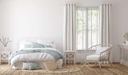 Photo pour Light farmhouse bedroom interior background, 3d render - image libre de droit