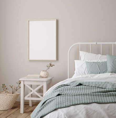 Photo for Frame mock up in farmhouse bedroom interior, 3d render - Royalty Free Image