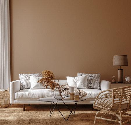 Photo pour Boho style home interior, living room in brown warm color, 3d render - image libre de droit