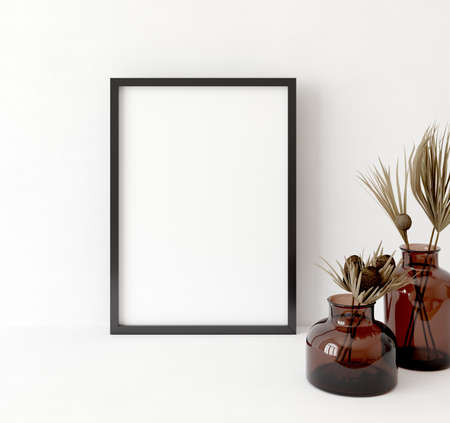 Photo for Mock up frame close up in home interior background ,Boho style, 3d render - Royalty Free Image