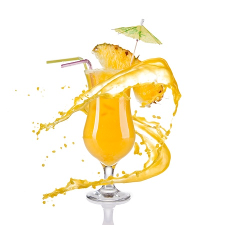 Fresh pineapple cocktail with juice splash, isolated on white background