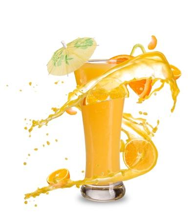 Fresh orange cocktail with juice splash, isolated on white background