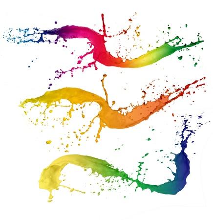 Foto de Colored paint splashes isolated on white background - Imagen libre de derechos