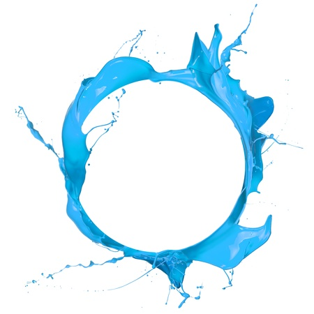 Photo pour Blue paint splashes circle, isolated on white background  - image libre de droit