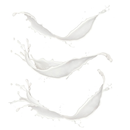 Photo pour Milk splashes collection, isolated on white background - image libre de droit
