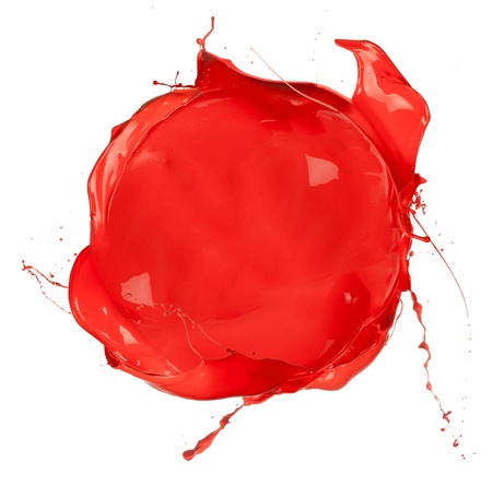Isolated shot of red paint blob on white background