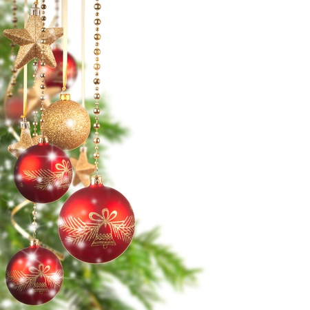 Photo pour  Christmas theme with glass balls and free space for text - image libre de droit