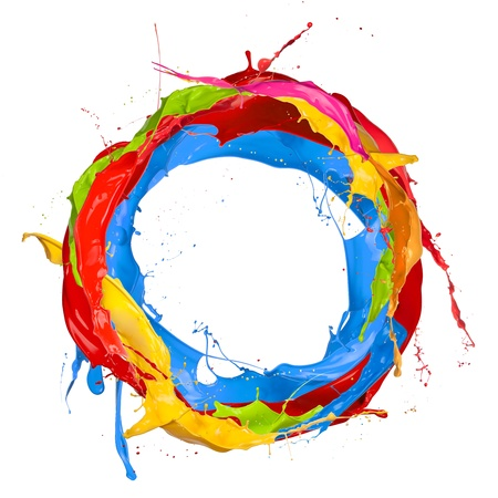 Photo pour  Colored paints splashes circle, isolated on white background  - image libre de droit