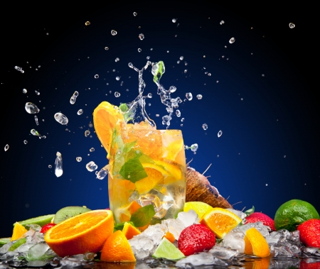 Fruit cocktail with dark background