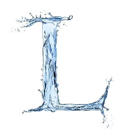 Water splashes letter L isolated on black background