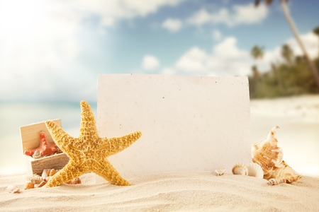 Concept of summer beach with starfish, shells and empty paper fr message