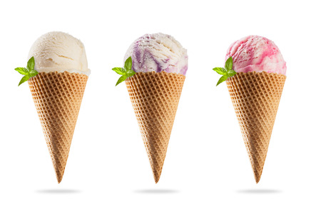 Set of various kinds of ice creams in cones, isolated on white background