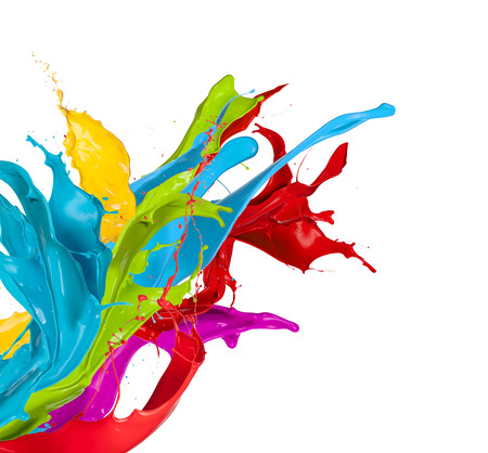 Foto de Colored splashes in abstract shape, isolated on white background - Imagen libre de derechos