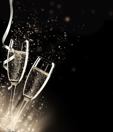 Photo for Two glasses of champagne with splash, on black background - Royalty Free Image