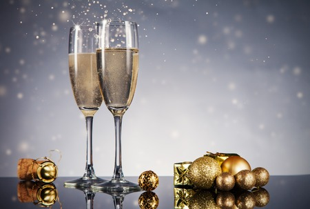Champagne glasses. Celebration theme with champagne still life