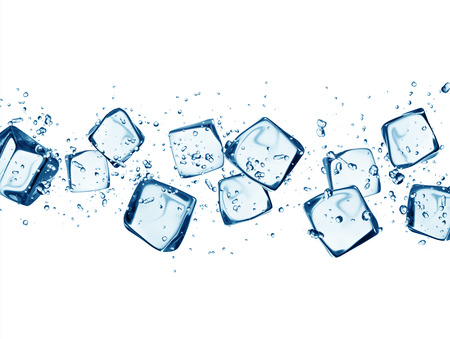 Falling ice cubes in water splashes isolated on white backgroundの写真素材