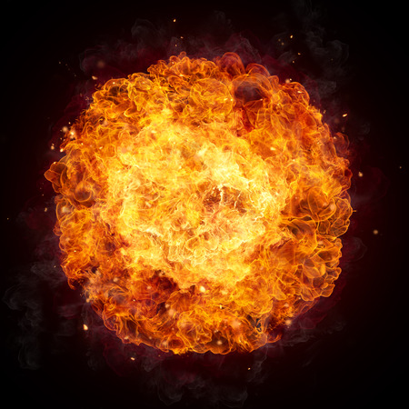 Photo for Hot fires flames in rounded shape, isolated on black background - Royalty Free Image
