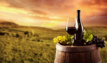 Photo pour Red wine bottle and glass on wooden keg. Vineyard on background - image libre de droit
