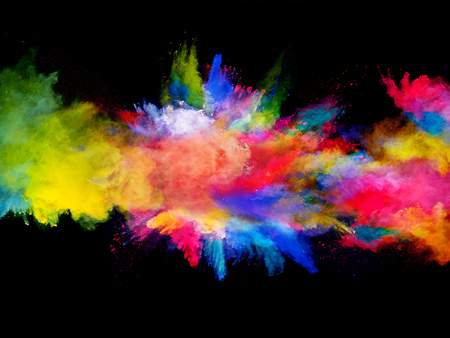 Foto de Explosion of colored powder, isolated on black background - Imagen libre de derechos