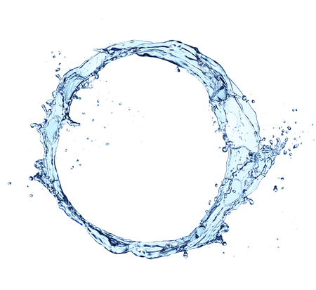 Photo pour Blue abstract water splash in circle shape, isolated on white background - image libre de droit