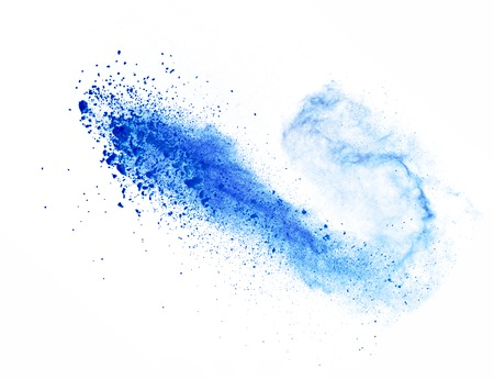 Photo for Explosion of blue powder, isolated on white background - Royalty Free Image