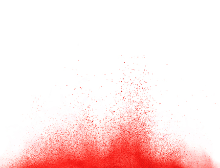 Foto per Explosion of red powder, isolated on white background - Immagine Royalty Free