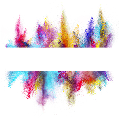 Foto de Explosion of colored powder with empty space for text, isolated on white background - Imagen libre de derechos