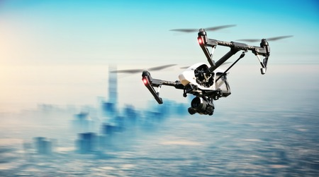 Photo for Drone flying aboveDubai city panorama in blur motion - Royalty Free Image