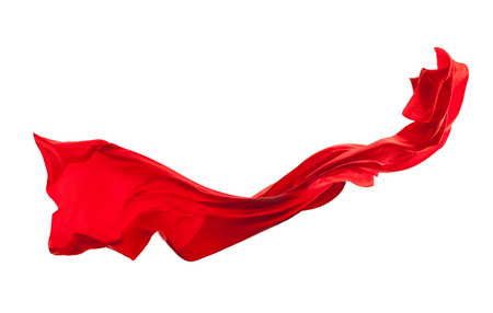 Photo pour Smooth elegant red satin cloth isolated on white background - image libre de droit