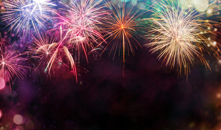 Photo for Abstract colored firework background with free space for text - Royalty Free Image