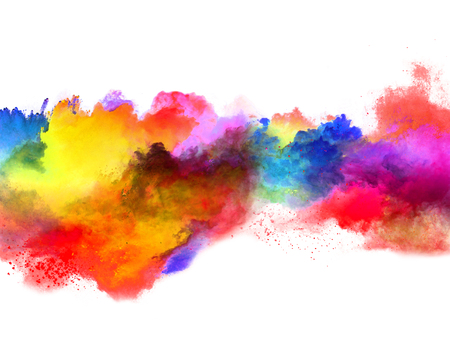 Photo for Explosion of colored powder, isolated on white background. Power and art concept, abstract blust of colors. - Royalty Free Image