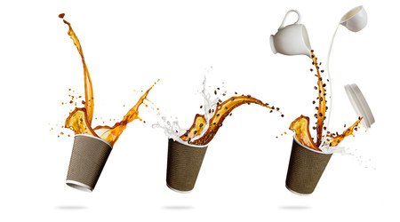 Take away cups with splashing coffee liquid isolated on white background. Hot drink with splash, beverages and refreshment. Very high resolution image