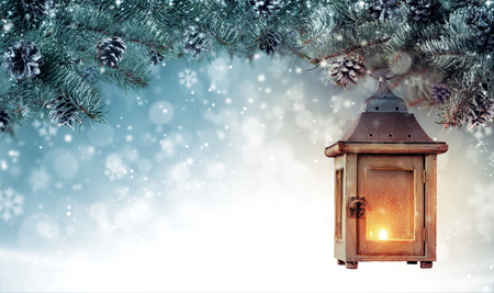 Foto de Christmas background with spruce branches and wooden lantern. Abstract holiday concept with empty vintage planks. High resolution image - Imagen libre de derechos