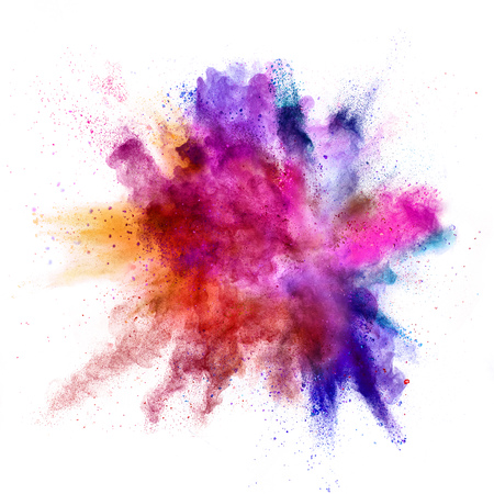 Photo for Explosion of coloured powder isolated on white background - Royalty Free Image