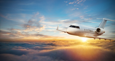 Photo for Luxury private jetliner flying above clouds. Modern and fastest mode of transportation, symbol of luxury and business traveling. - Royalty Free Image