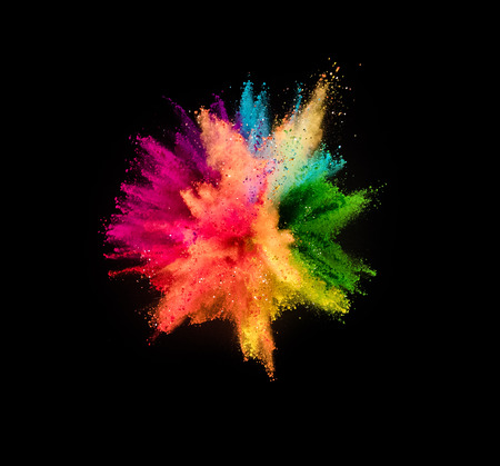 Photo for Colored powder explosion isolated on black background. - Royalty Free Image