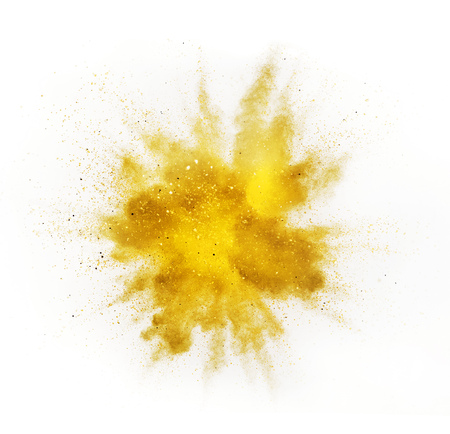Foto de Explosion of colored powder isolated on white background. Abstract colored background - Imagen libre de derechos