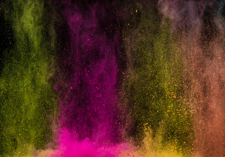 Photo for Abstract falling colored powder isolated on black background. Abstract colored background - Royalty Free Image