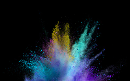 Photo for Explosion of colored powder isolated on black background. Abstract colored background - Royalty Free Image