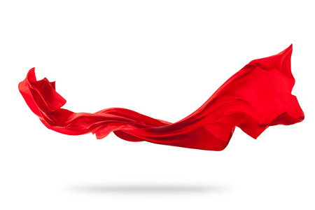 Photo pour Flying piece of colored cloth texture isolated on white - image libre de droit